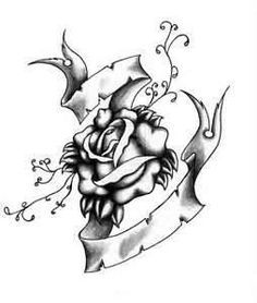 236x278 Black And White Rose Tattoo Design Tattoo Design Stuff