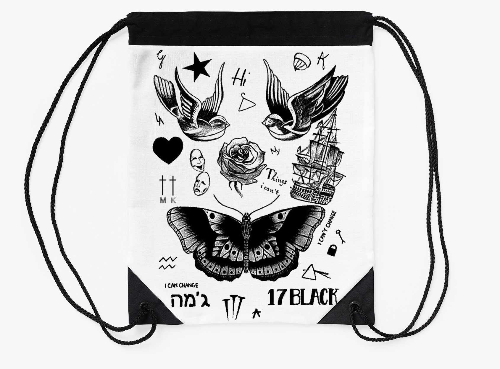 1690x1250 Harry Styles Tattoos Drawstring Bags By Roganart Redbubble