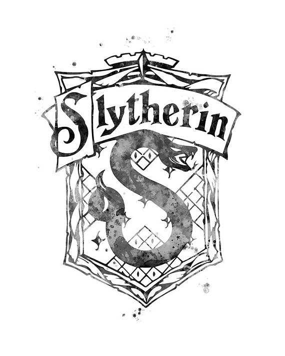 570x713 Slytherin Crest Black And White Harry Potter Art Gifts