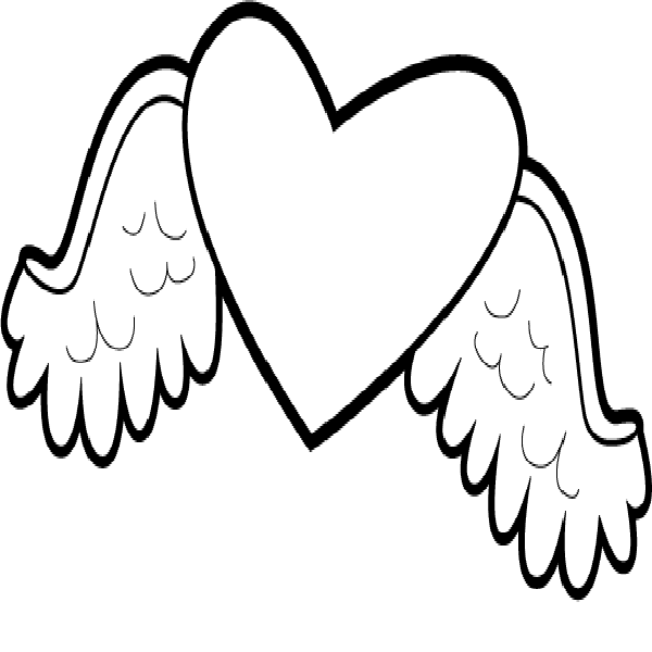 600x600 Hearts With Wings Coloring Pages