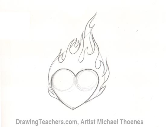 550x421 How To Draw A Heart With Flames