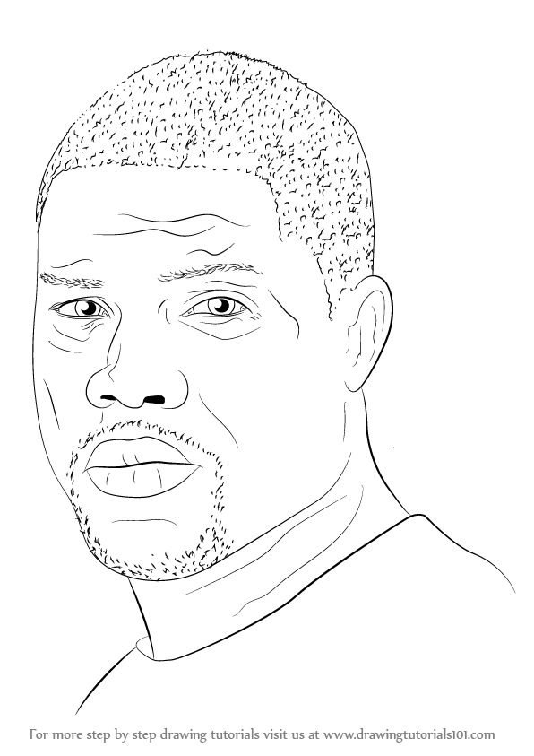 596x843 Learn How To Draw Kevin Hart (Entertainers) Step By Step Drawing