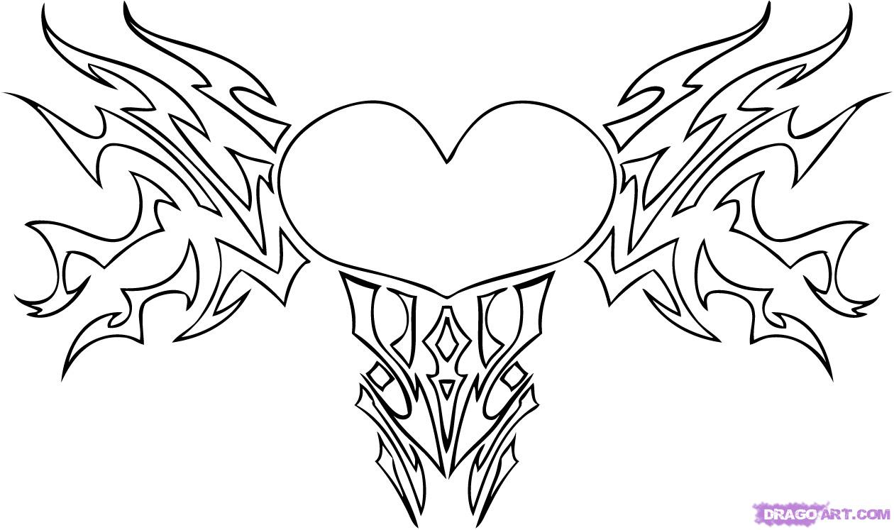 1260x747 Sketches Of Stars And Hearts How To Draw A Tribal Heart, Step By