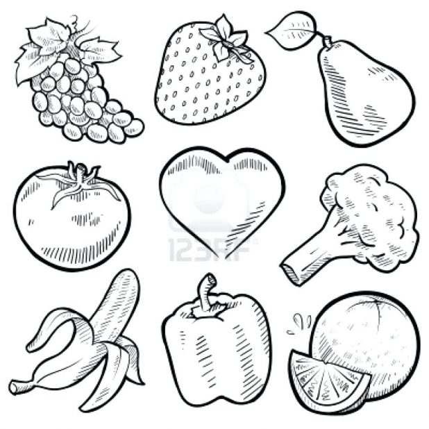 618x618 Fancy Fruit And Vegetables Coloring Pages Harvest Fruits
