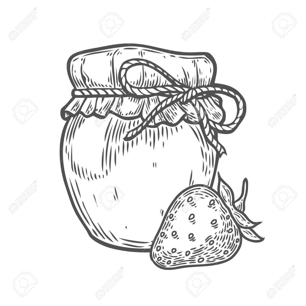 1300x1300 Strawberry Jam Jar Ink Hand Drawn Vector Illustration. Harvest