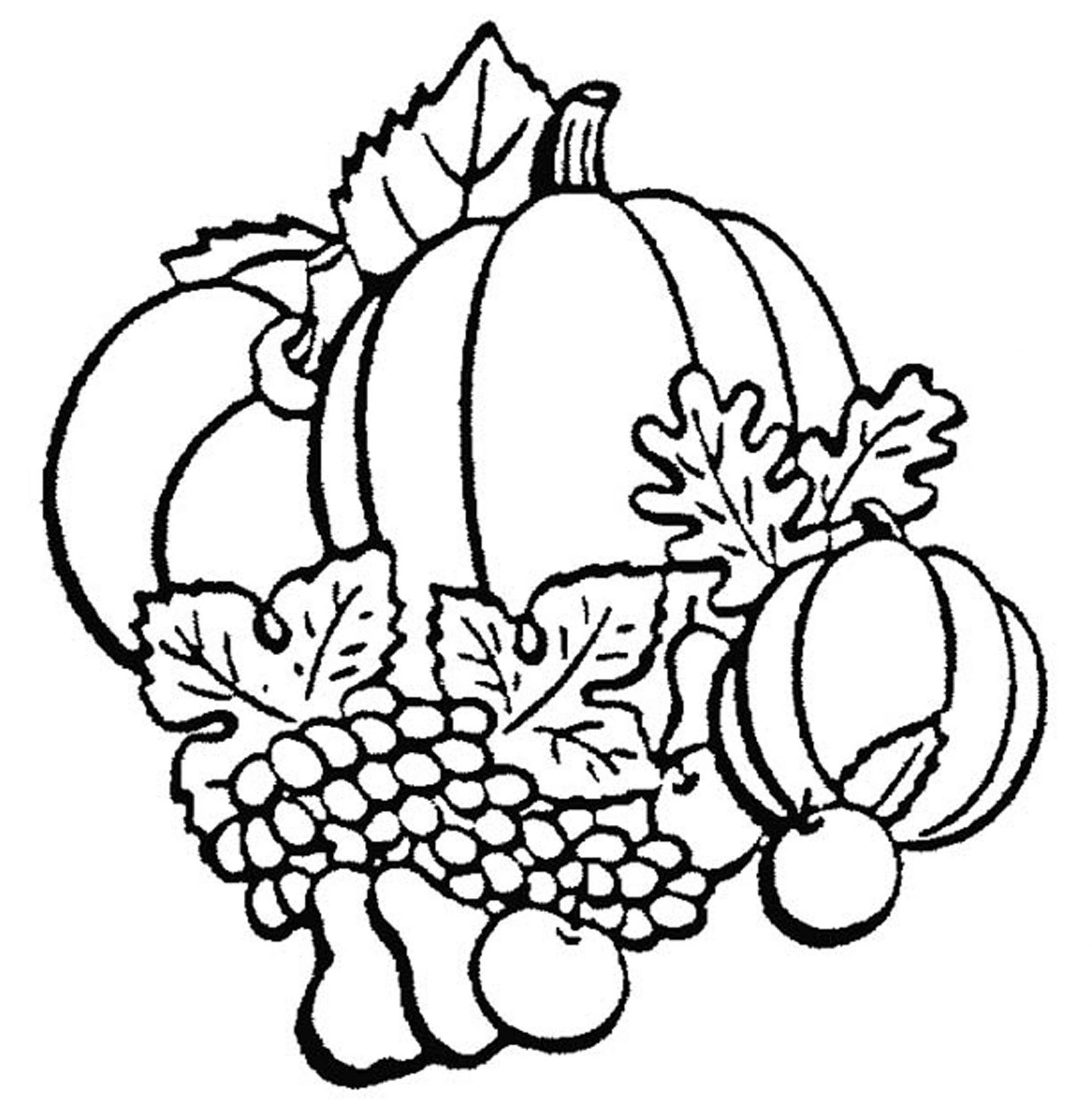 1999x2048 Harvest Fruits Fall Leaves Coloring Pages