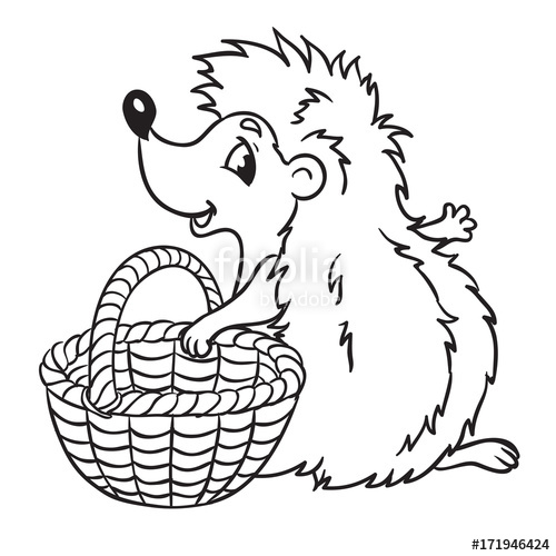 500x500 Hedgehog With Basket For Mushroomsnd Harvesting. Isolated On