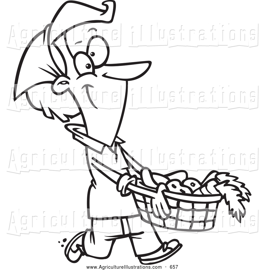 1024x1044griculture Clipart Of Blacknd White Happy Woman Carrying