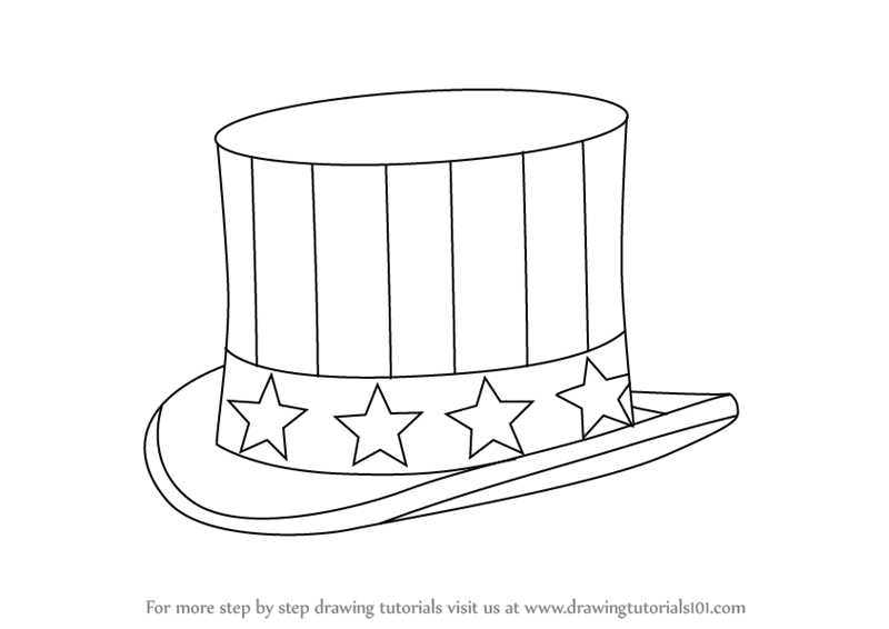 800x566 Learn How To Draw Uncle Sam's Hat (Hats) Step By Step Drawing