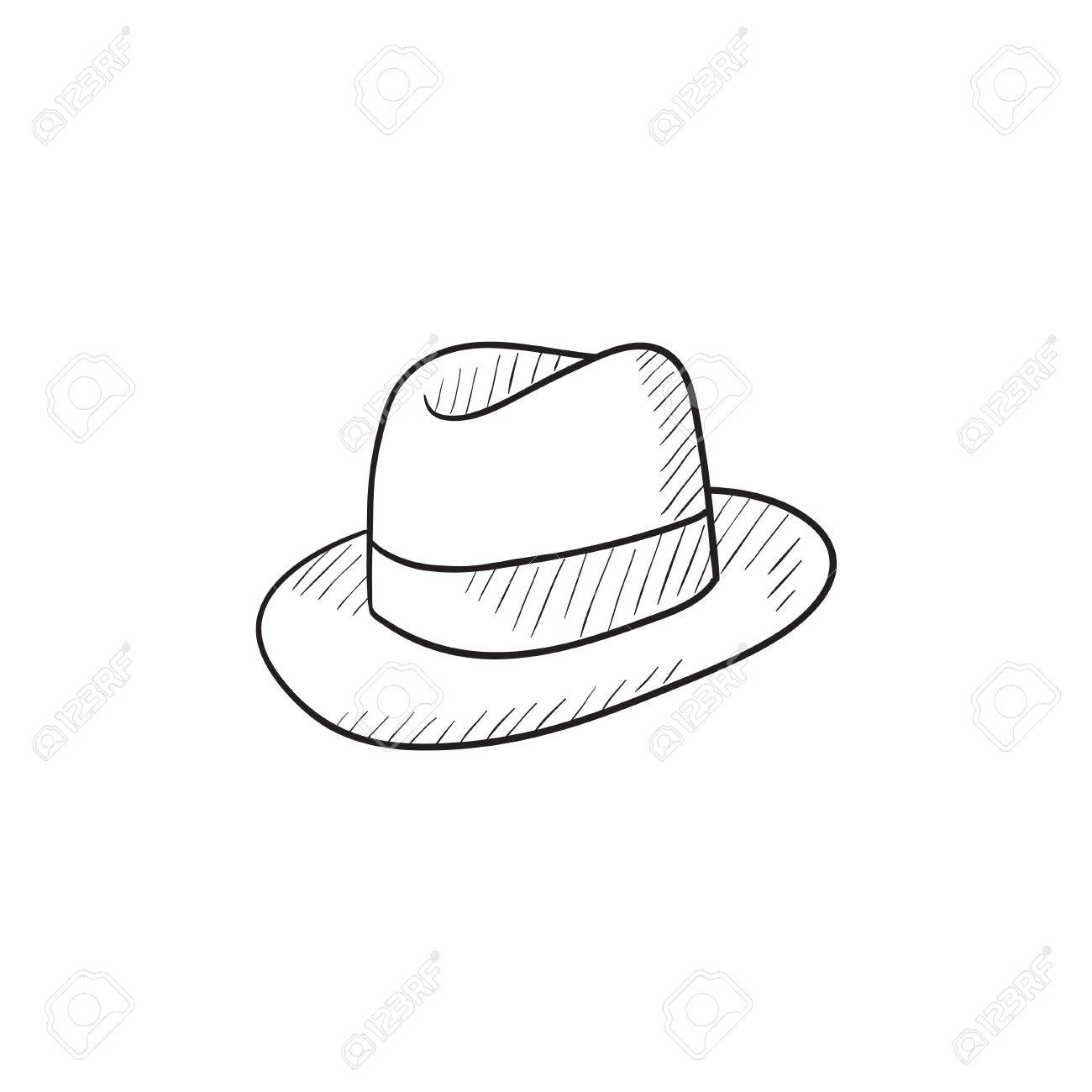 1300x1300 Fedora Hat Sketch Icon For Web, Mobile And Infographics. Hand