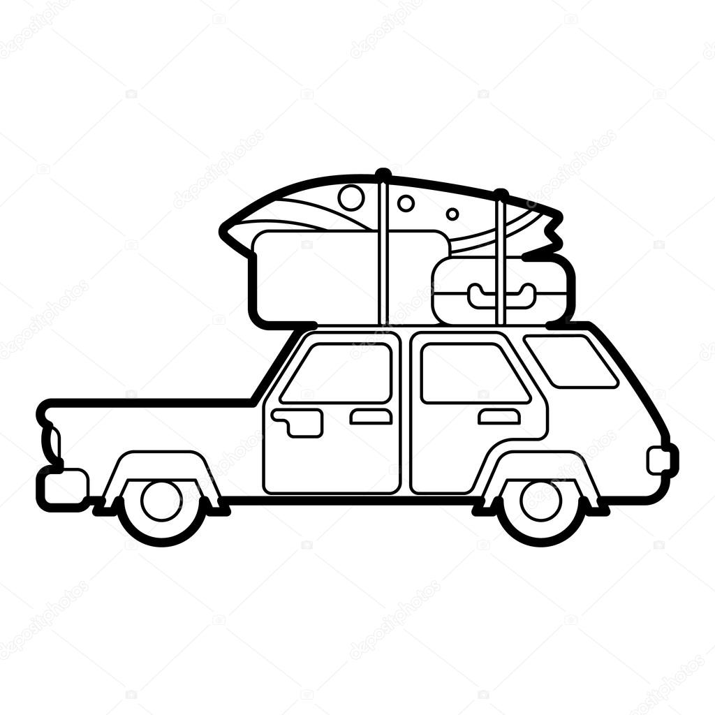1024x1024 Hatchback Car With Cargo Luggage Icon Stock Vector Ylivdesign