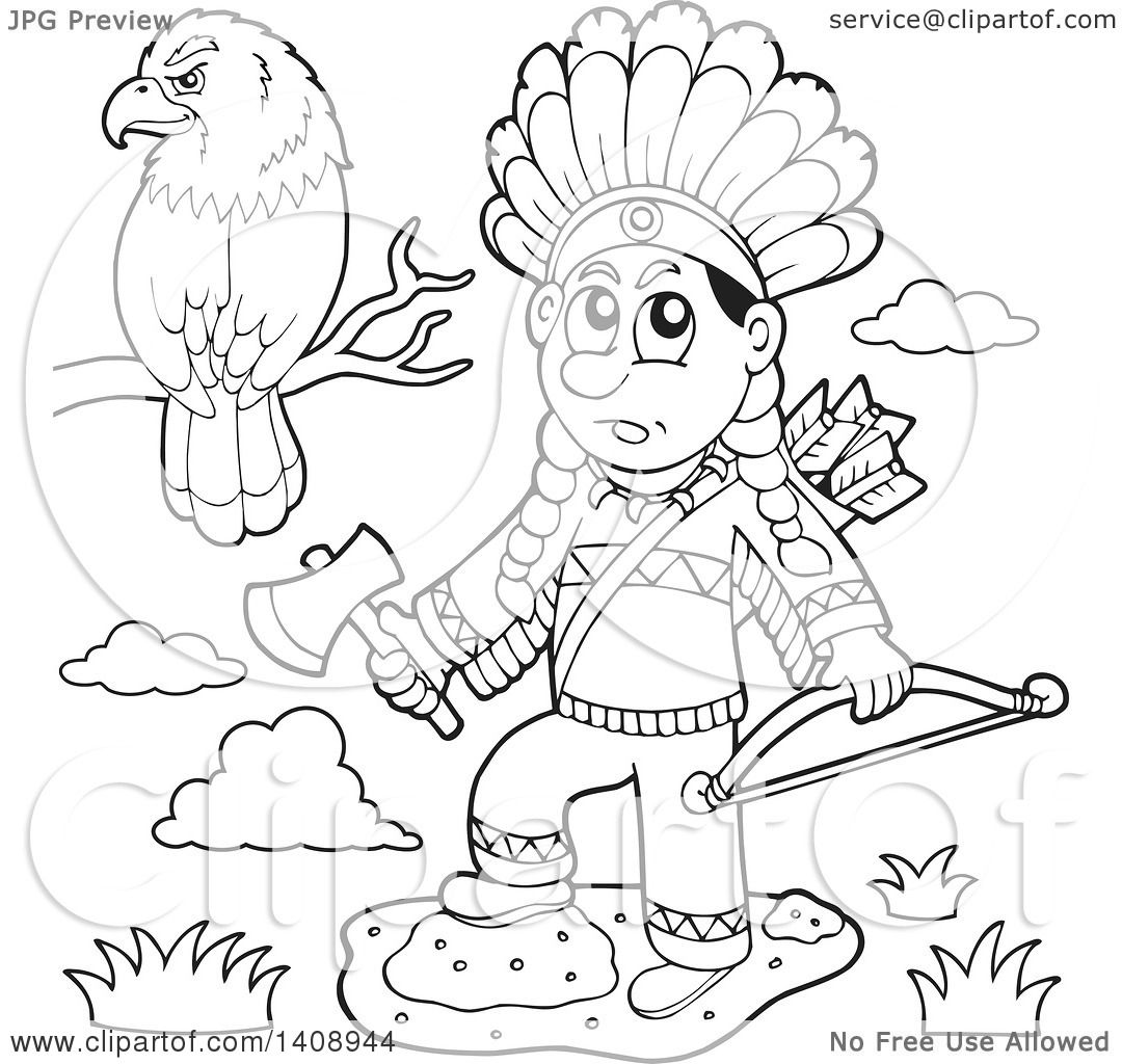1080x1024 Clipart Of Blacknd White Lineart Nativemerican Man Holding