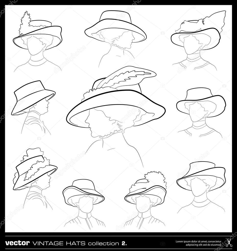 968x1024 Vintage Woman Hat Vector Drawing Set. Stock Vector Adistock