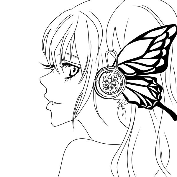 600x600 Hatsune Miku Magnet Lineart By Worm San