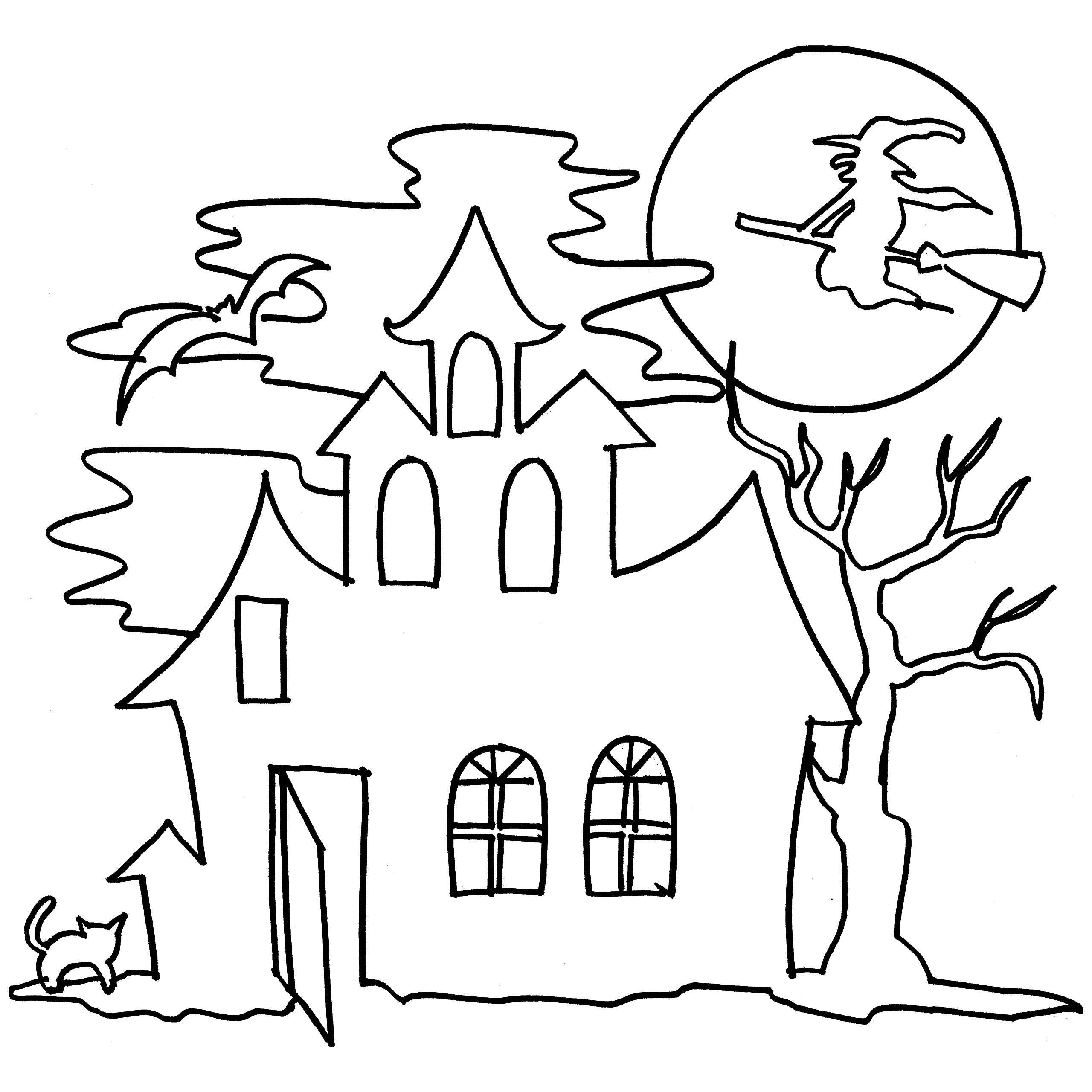 2560x2560 Haunted Castle 7 Coloring Page For Kid To Print