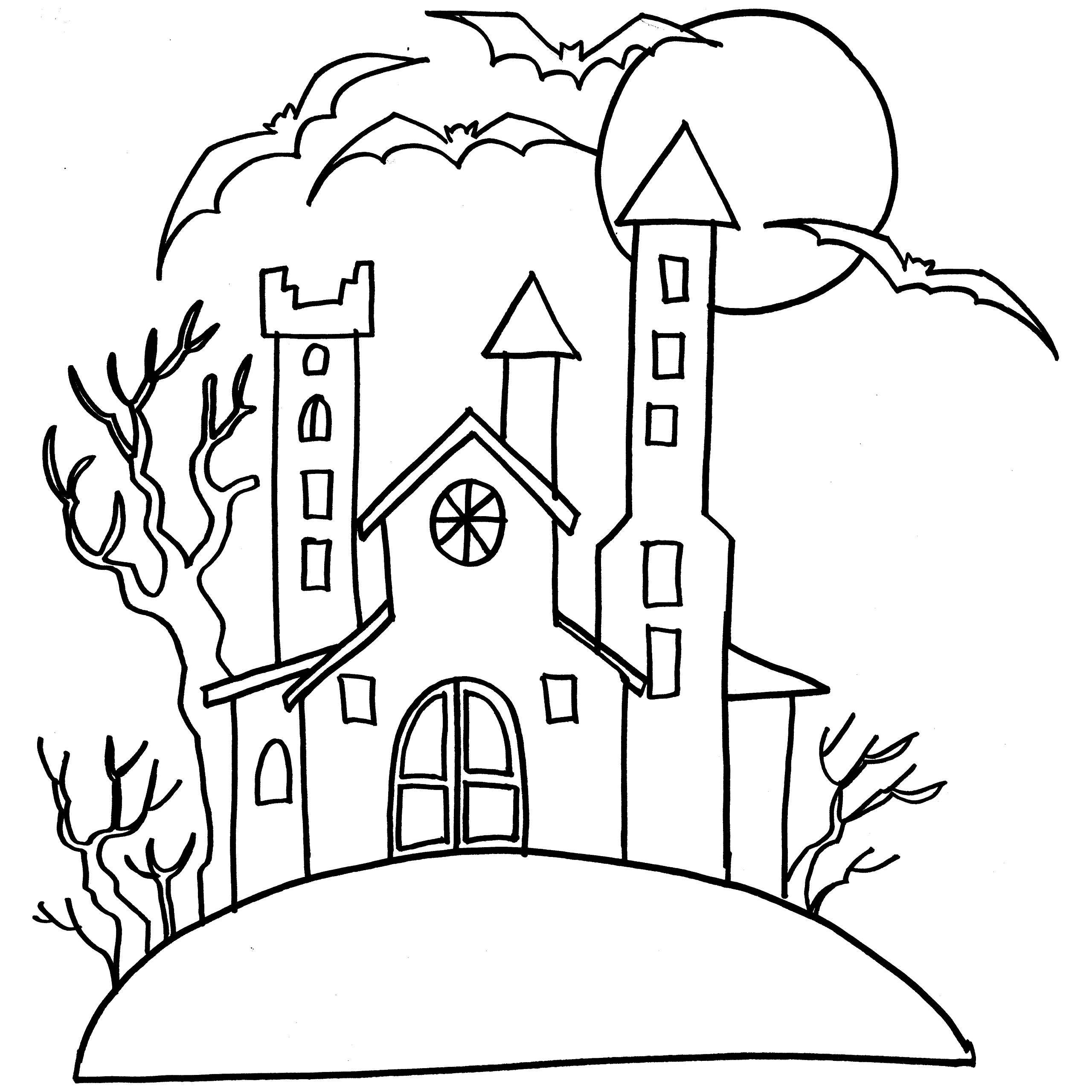 2560x2560 Haunted Castle Colouring Page To Print For Kid
