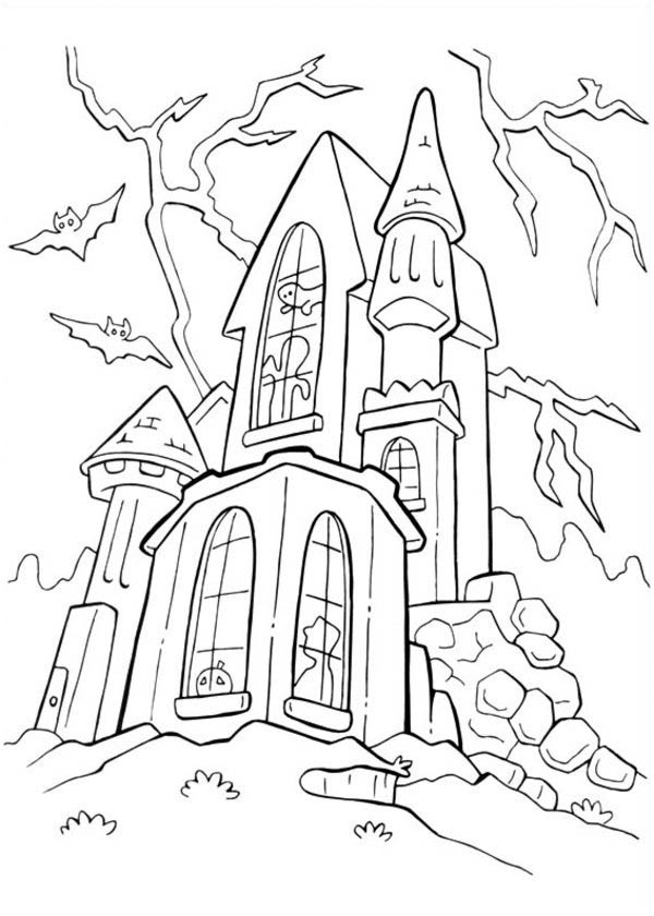 600x840 Haunted Castle In Funschool Halloween Coloring Page