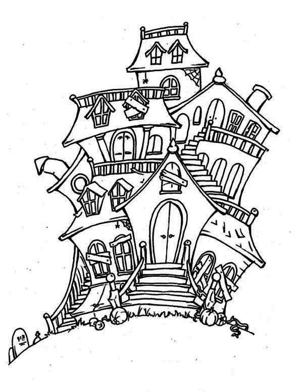600x776 Haunted House, Bad Spirit In Haunted House Coloring Page