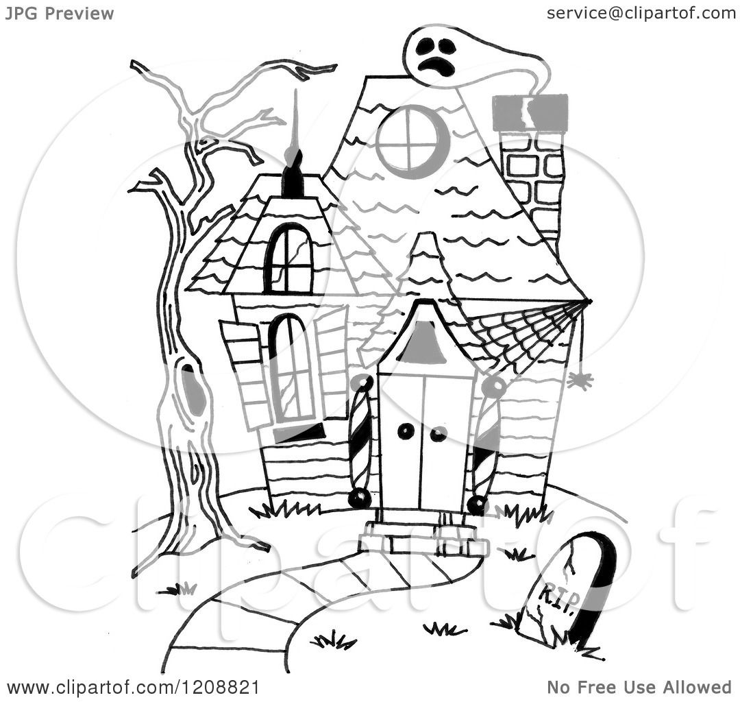 1080x1024 Cartoon Of A Black And White Halloween Haunted House
