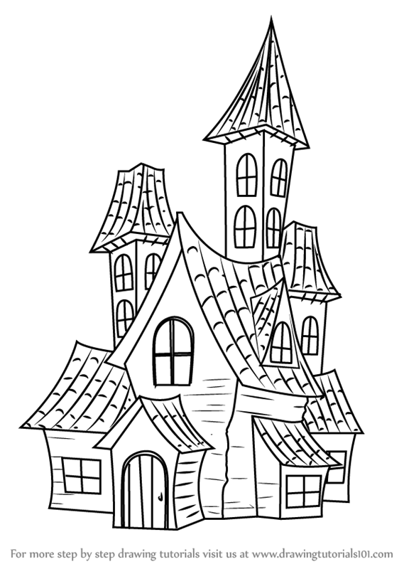 569x800 Learn How To Draw A Spooky Haunted House (Halloween) Step By Step