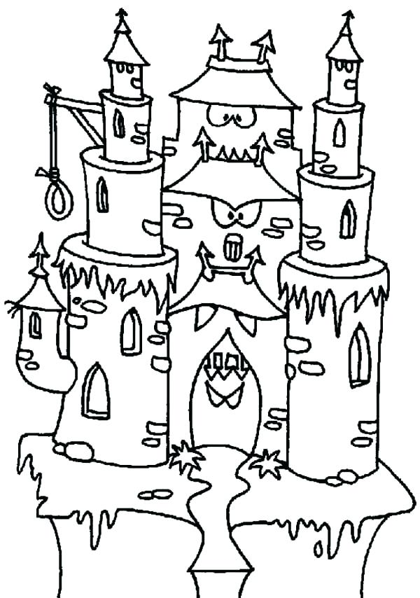 600x854 Monster House Coloring Pages Interesting Haunted House Printable
