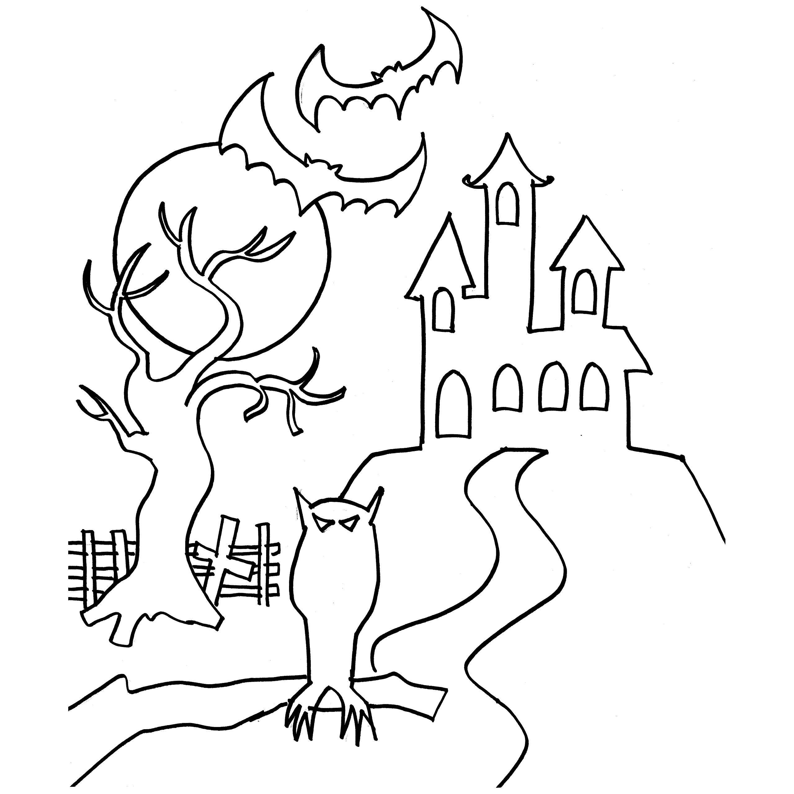 2560x2560 Printable Haunted Castle 6 Coloring Page For Kids