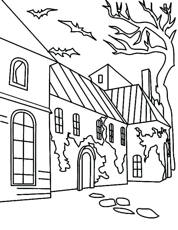600x775 Spooky House Coloring Pages Creepy Haunted House In Houses