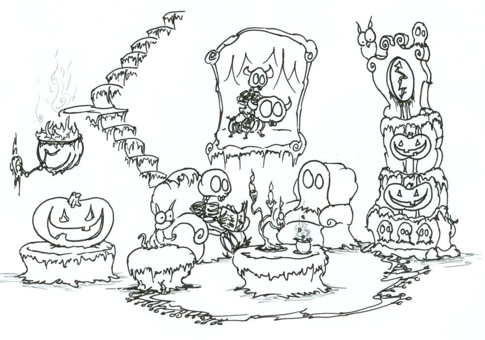 1000x701 Ghosts 595x842 Haunted House Coloring Page