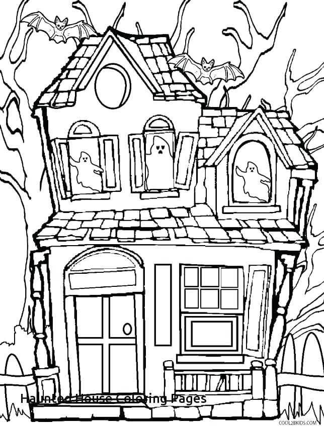 644x850 Haunted House Coloring Pages To Print Synthesis.site