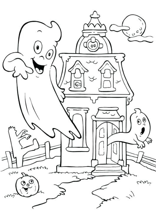 530x722 Haunted House Coloring Pages Free Coloring