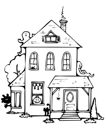 371x480 Haunted House Coloring Page Free Printable Coloring Pages