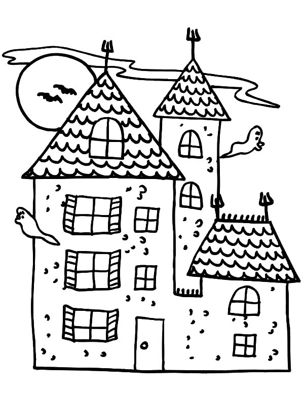 600x775 Cartoon Haunted House Coloring Pages Cartoon Haunted House