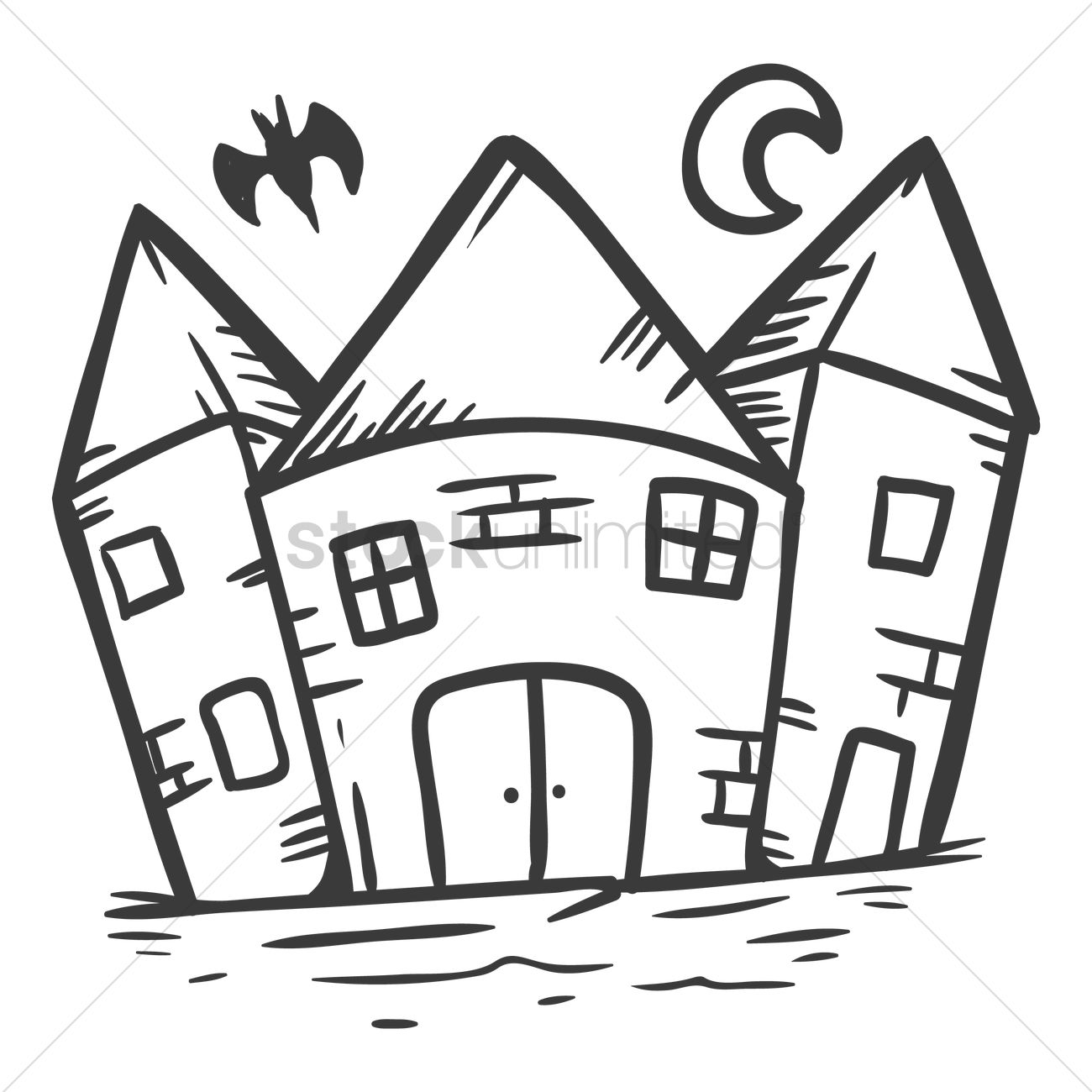 1300x1300 Haunted House Vector Image