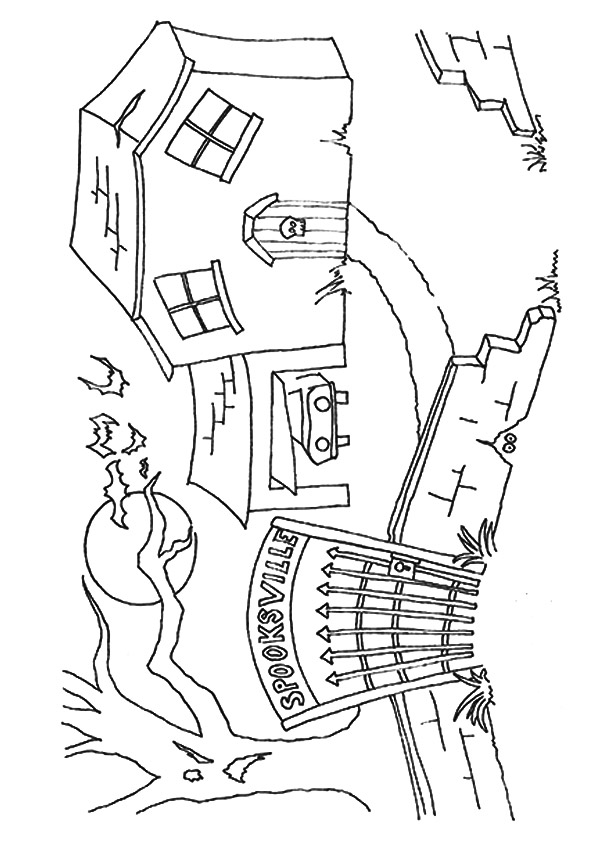 595x842 Haunted House Coloring Pages Spooksville