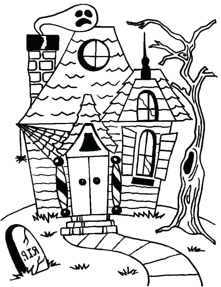 744x964 Preschool Haunted House Coloring Page Cartoon Many Interesting
