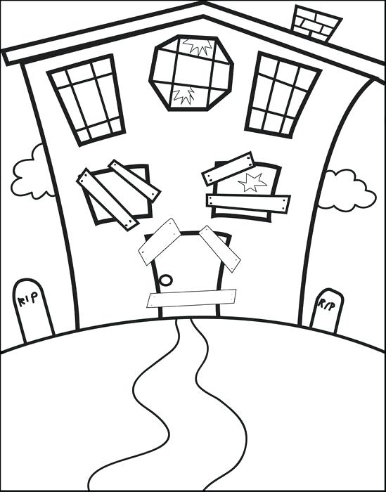 549x700 Spooky House Coloring Pages Creepy Haunted House In Houses