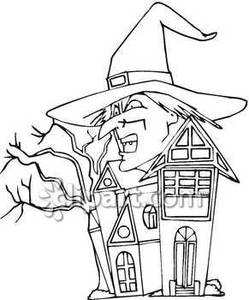 249x300 Witch's Head And A Haunted House Royalty Free Clipart Picture
