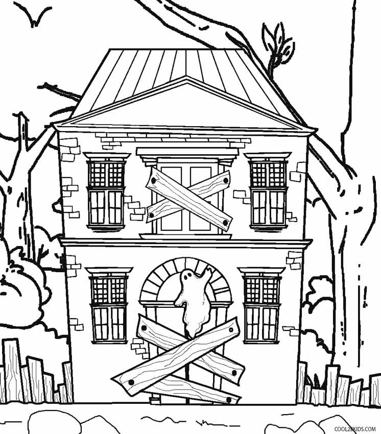 746x850 Haunted House Coloring Pages Printables Cartoon Haunted House