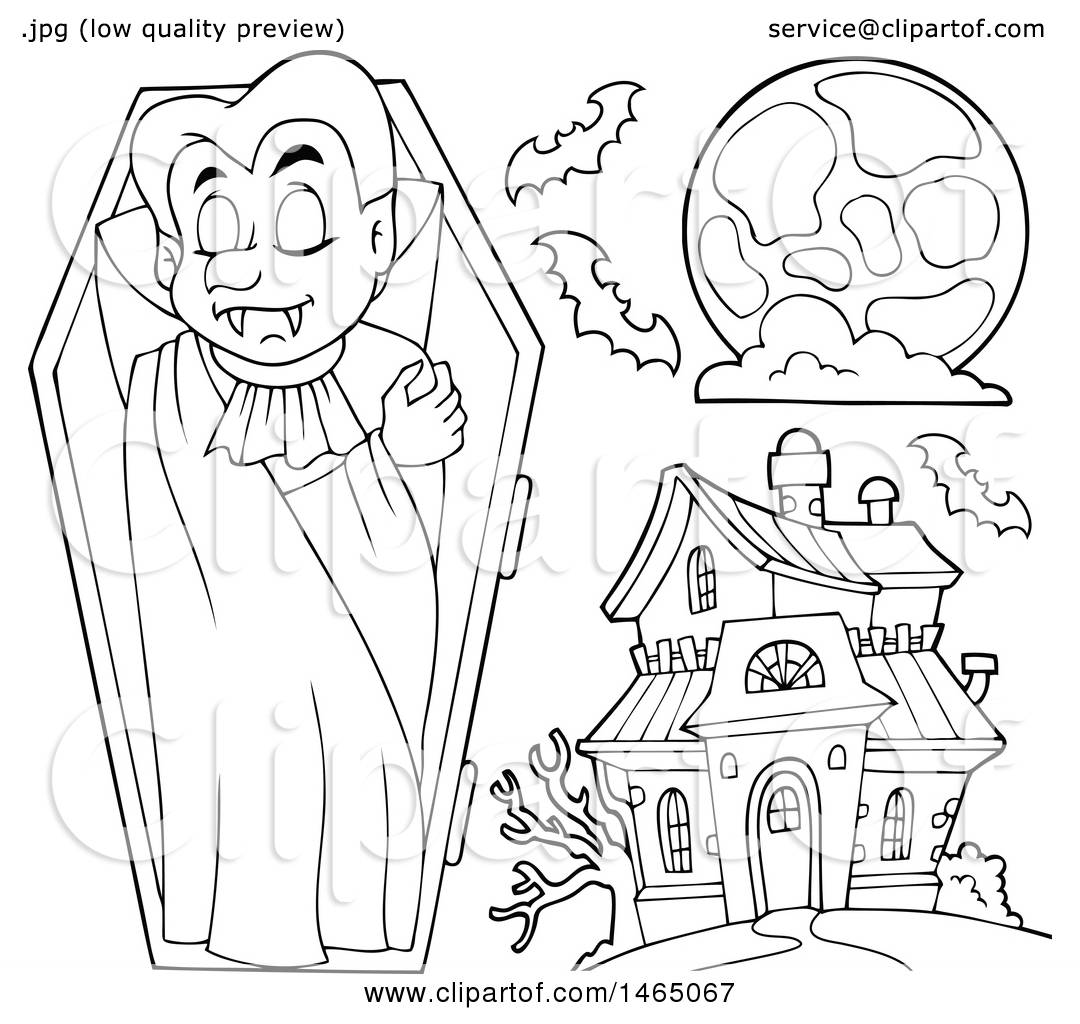 1080x1024 Clipart Of A Black And White Vampire, Full Moon And Haunted House