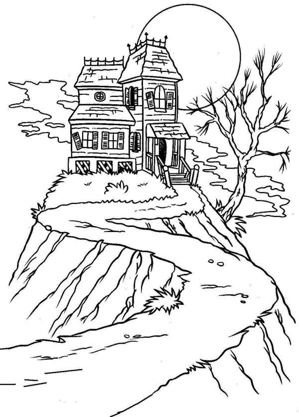 600x836 Free Halloween Coloring Pages Haunted House