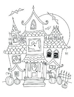 309x400 Awesome Haunted House Coloring Pages Or Haunted House Coloring