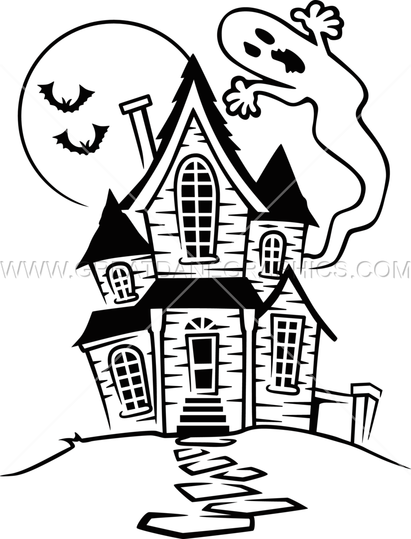 825x1082 Haunted House Production Ready Artwork For T Shirt Printing