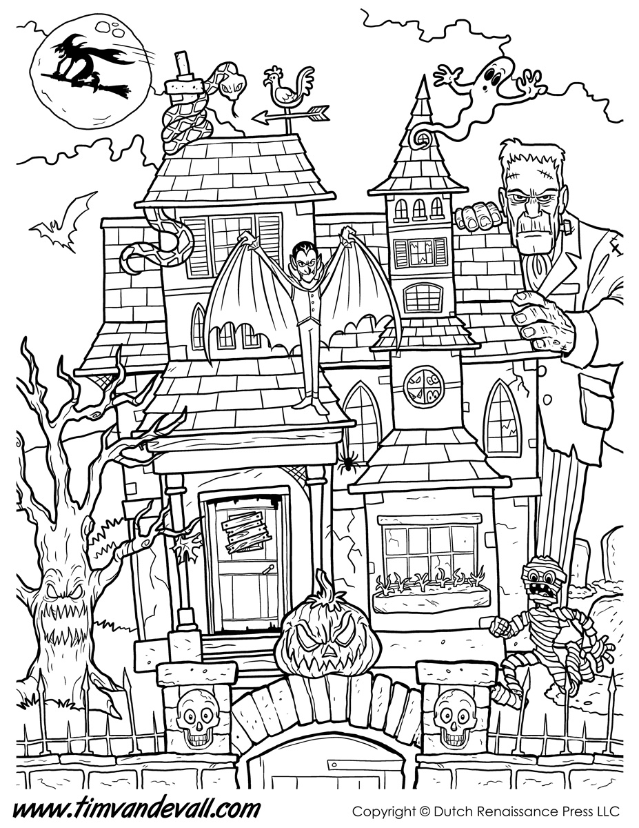 927x1200 Haunted House Coloring Page Halloween Printable For Beatiful Draw