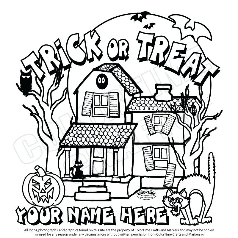 800x800 Haunted House Coloring Page Spooky Dead Tree Beside Haunted House