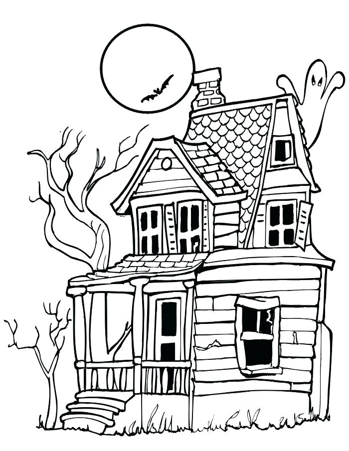 700x905 Haunted House Coloring Pages To Print Creepy House Pictures Free
