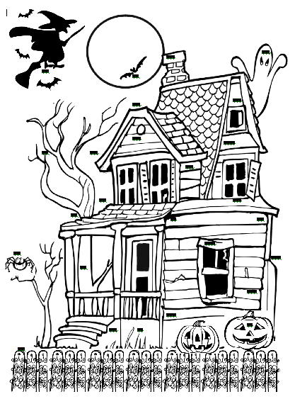 417x563 Black And White Haunted House Clipart