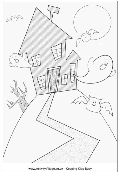 460x666 Haunted House Colouring Page For Younger Kids