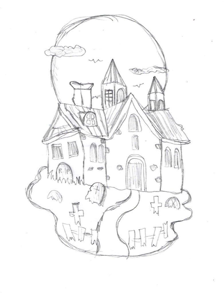 782x1022 Haunted House Sketch By Drawingmanuals