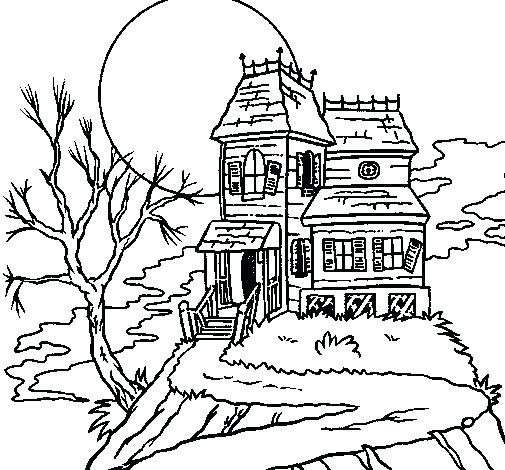 505x470 Haunted Mansion Coloring Pages Pin Drawn Haunted House Coloring