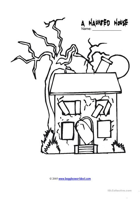 483x684 A Haunted House Drawing Worksheet